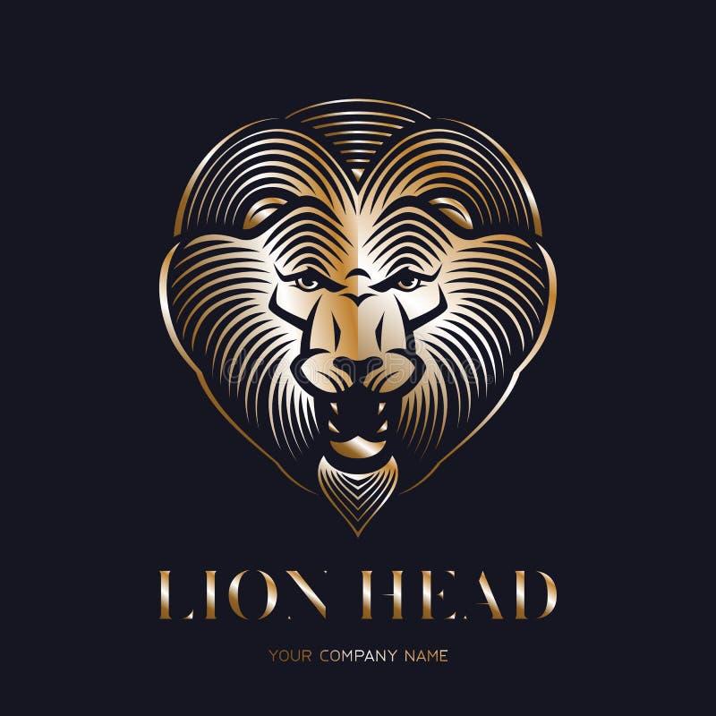 Логотип или значок золотого льва главный Ревя животная голова иллюстрация штока