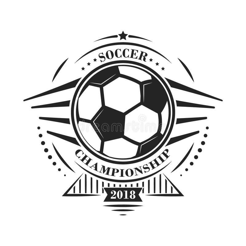 Логотип или эмблема чемпионата футбола в ретро стиле с звездами и шариком вектор техника eps конструкции 10 предпосылок иллюстрация вектора