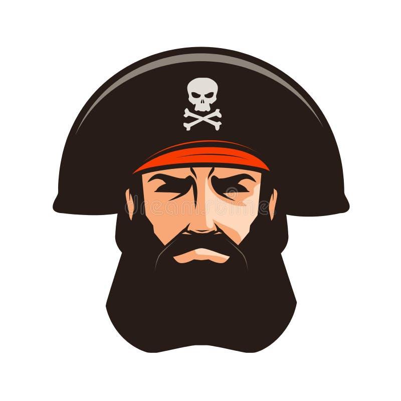 Логотип или ярлык пирата Портрет бородатого человека в взведенной курок шляпе alien кот шаржа избегает вектор крыши иллюстрации бесплатная иллюстрация