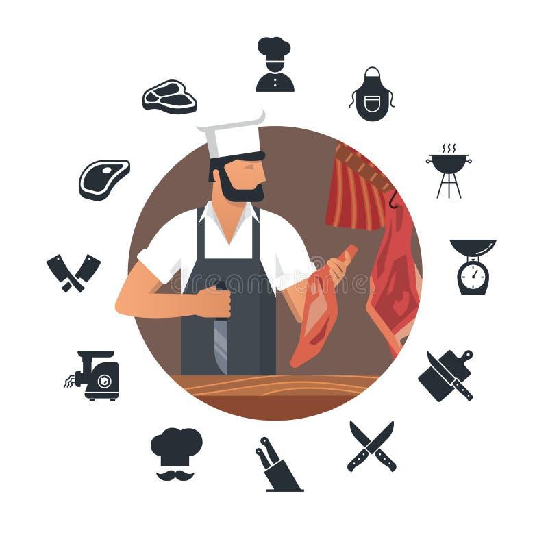Логотип иллюстрации вектора для мясной лавки с бородатыми мясниками на работе плюс набор плоских значков иллюстрация вектора