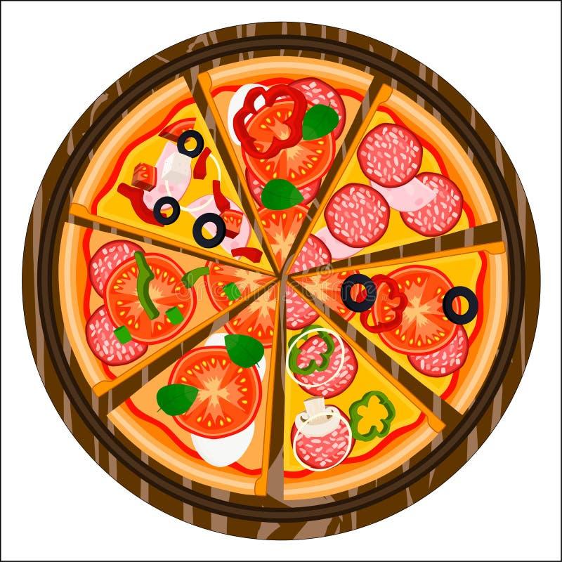 Логотип иллюстрации для всей круглой горячей пиццы иллюстрация штока
