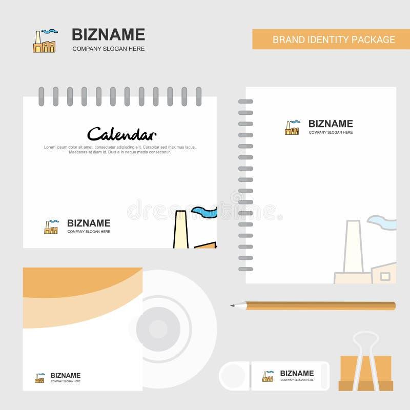 Логотип индустрии, шаблон календаря, крышка CD, дневник и бренд USB шаблон вектора комплексного конструирования неподвижный иллюстрация вектора