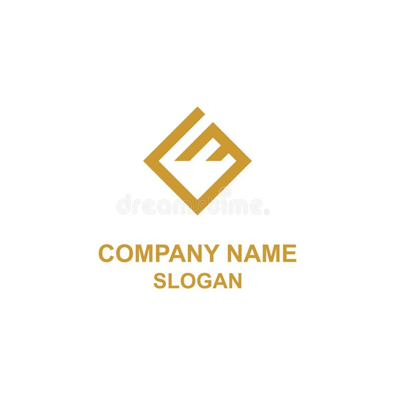 Логотип инициала письма GE квадратный иллюстрация вектора