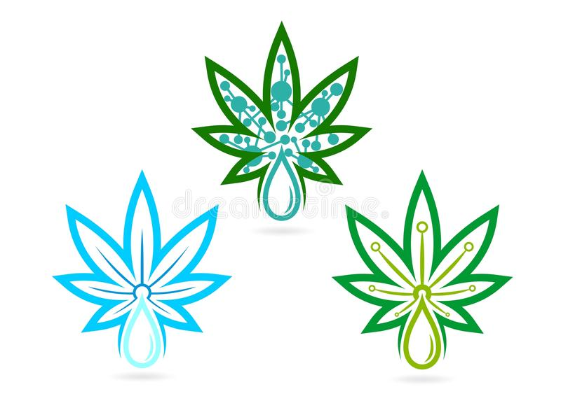 Логотип лист вливания, трава, skincare, марихуана, символ, значок конопли, выход, и дизайн концепции лист выдержки иллюстрация вектора