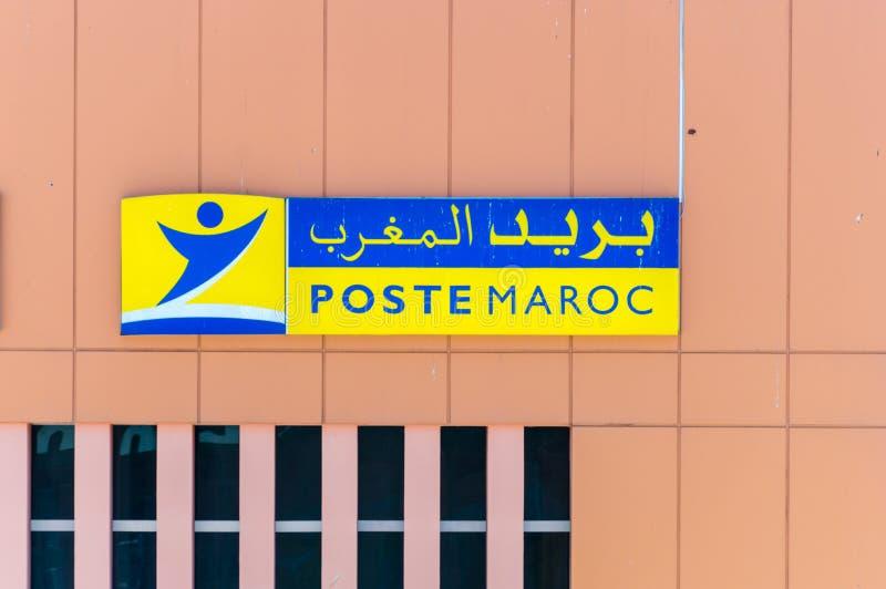 Логотип и знак почтового отделения марокканца Maroc столба стоковое изображение rf