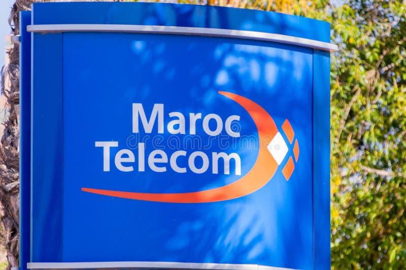 Логотип и знак телекоммуникаций Maroc стоковое изображение
