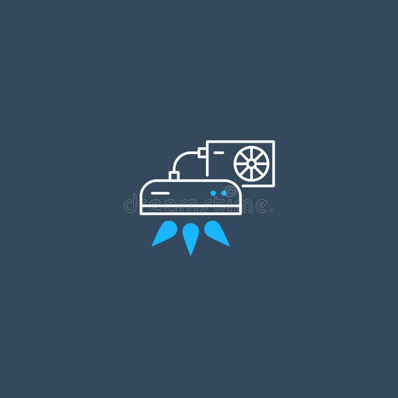 Логотип и значок кондиционера линейные иллюстрация вектора