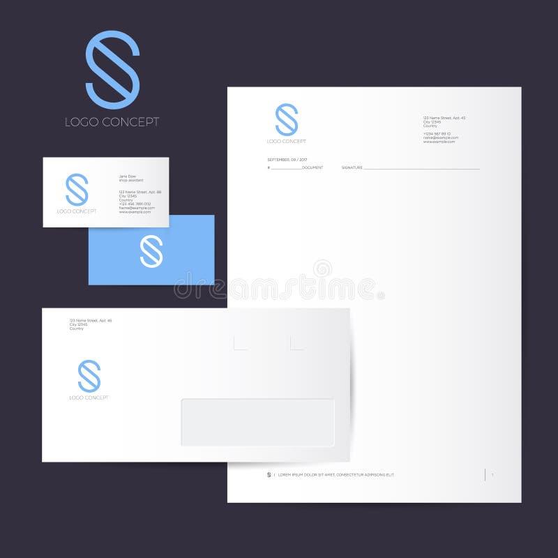 Логотип и идентичность s Вензель s голубой изолированный, на темной предпосылке Корпоративный стиль, конверт, letterhead, визитна бесплатная иллюстрация