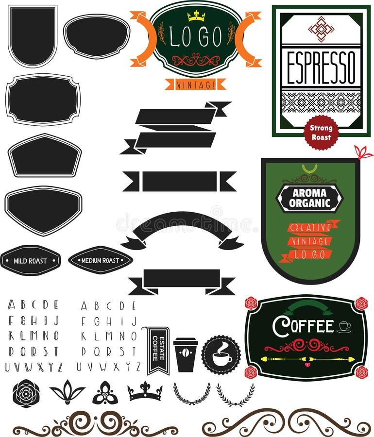 Логотип и инструменты кофейни стоковое фото