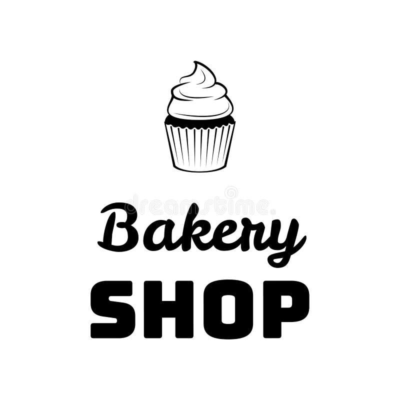 Логотип или эмблема хлебопекарни тортов Cream десерта для еды, кафа или дизайна меню ресторана также вектор иллюстрации притяжки  бесплатная иллюстрация