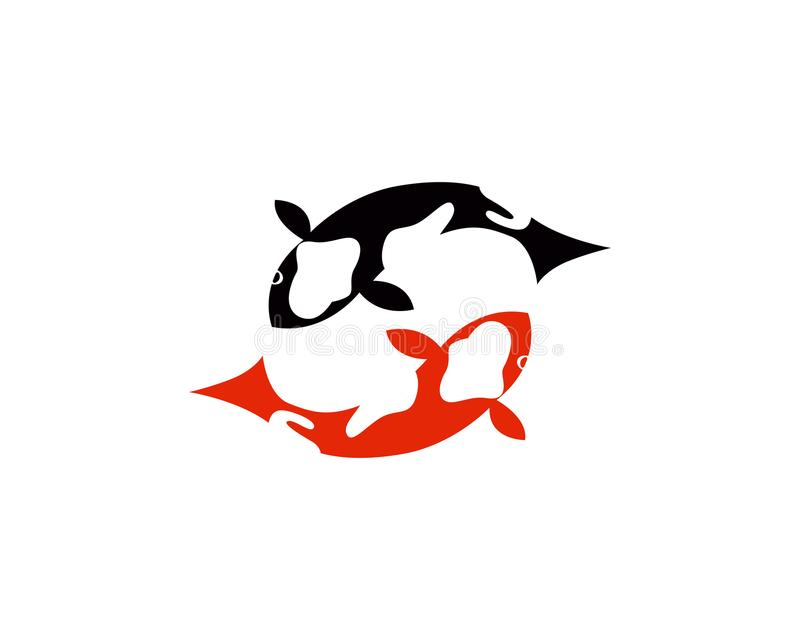 Логотип и символы рыб Koi vector значки шаблона иллюстрация штока