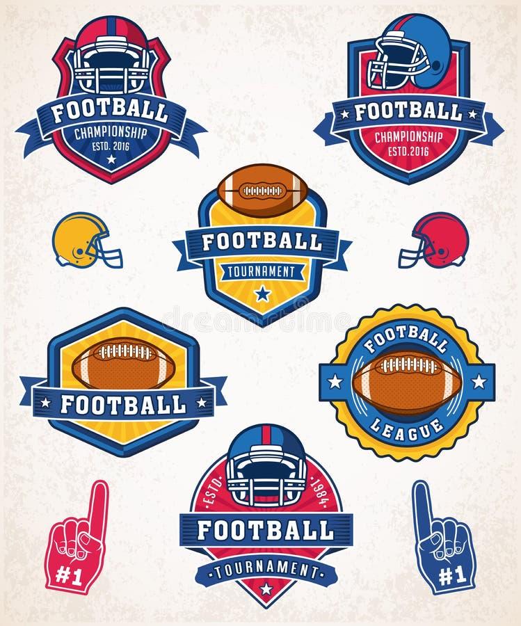 Логотип и insignias американского футбола вектора иллюстрация вектора