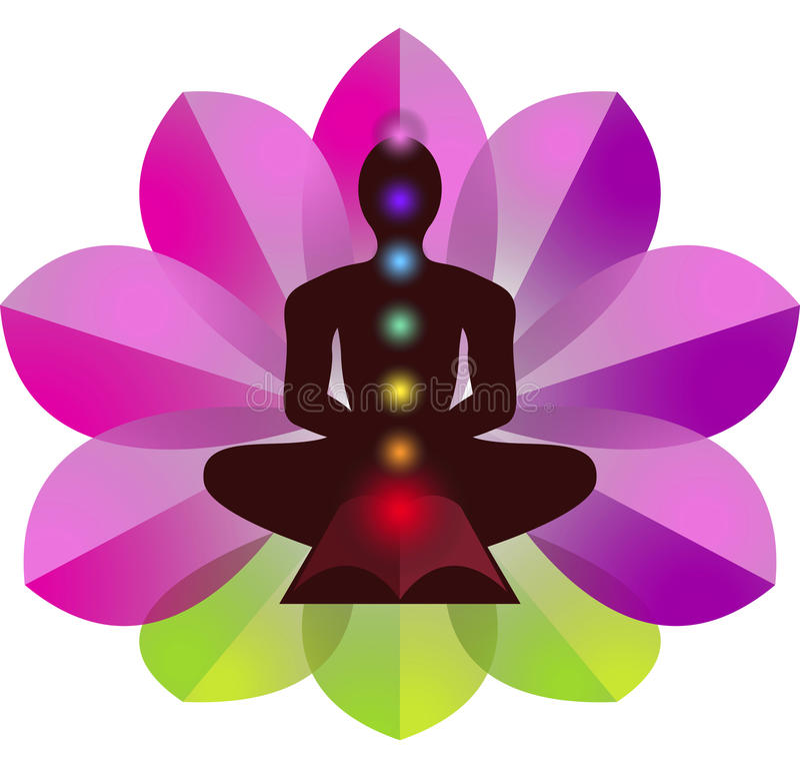 Логотип йоги лотоса иллюстрация штока
