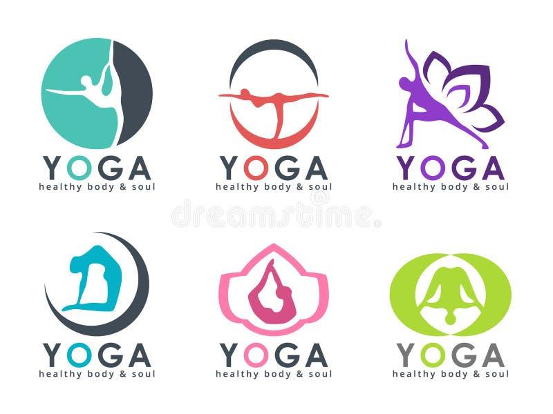 Логотип йоги с абстрактным человеческим играя дизайном вектора позиции йоги установленным иллюстрация вектора