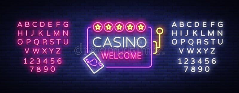 Логотип казино радушный в неоновом стиле шаблон ресторана конструкции принципиальной схемы Неоновая вывеска, светлое знамя, рекла иллюстрация вектора