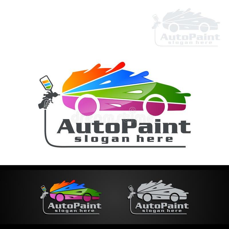 Логотип картины автомобиля с концепцией оружия и спортивной машины брызга иллюстрация штока