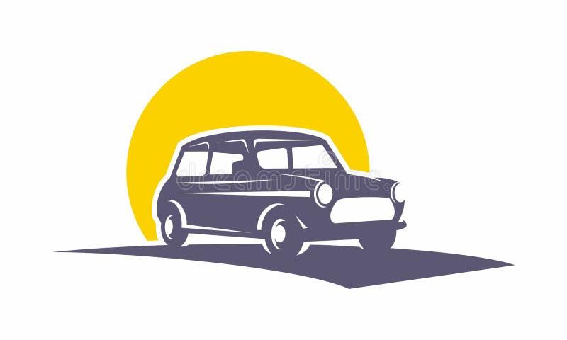Логотип классического автомобиля мини ретро стоковые изображения