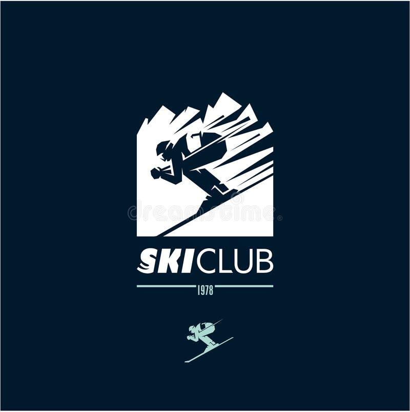 Логотип клуба лыжи, лыжник, катание на лыжах, горы, спорт зимы бесплатная иллюстрация