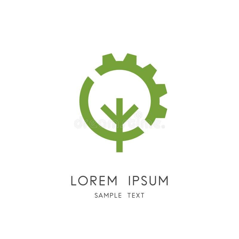 Логотип колеса дерева и шестерни бесплатная иллюстрация