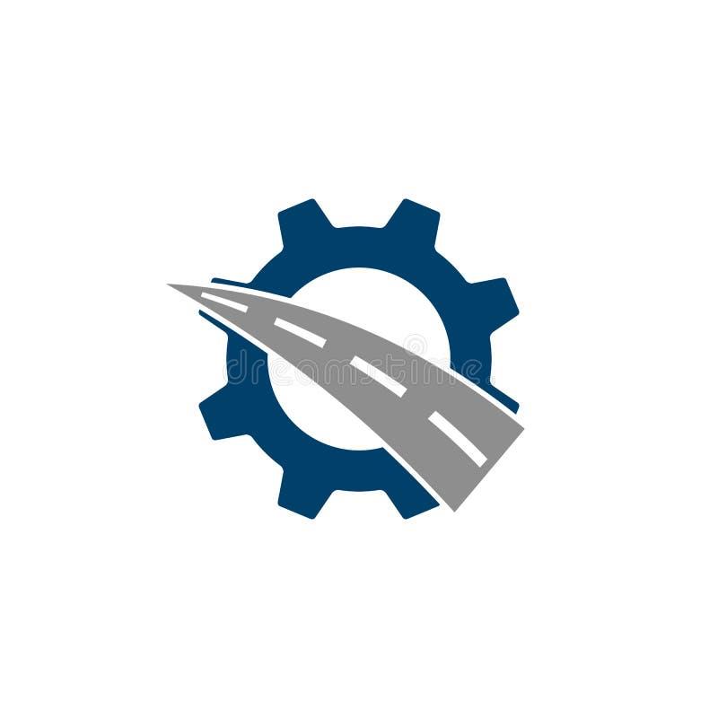 Логотип комбинации шестерни и дороги иллюстрация вектора
