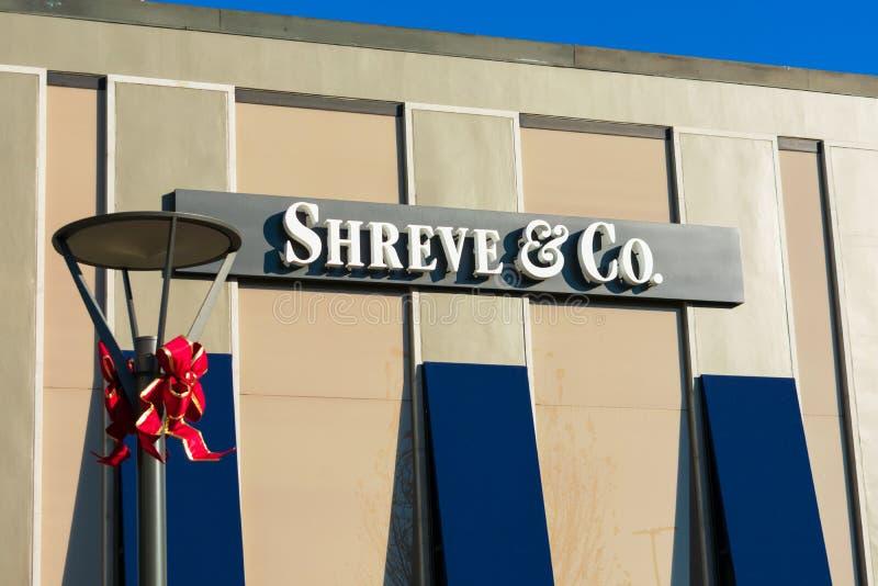 Логотип компании Shreve на продавце ювелирного магазина стоковые изображения