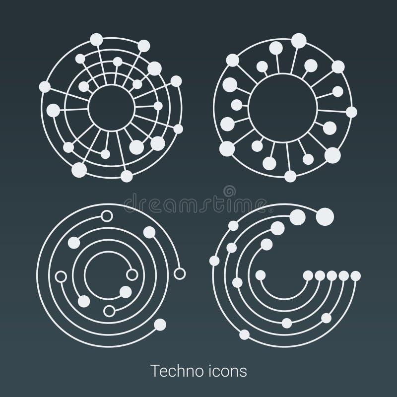 Логотип, компьютер и данные по технологии связали дело, высок-техник и новаторское Структура соединения Социальный график сети иллюстрация вектора