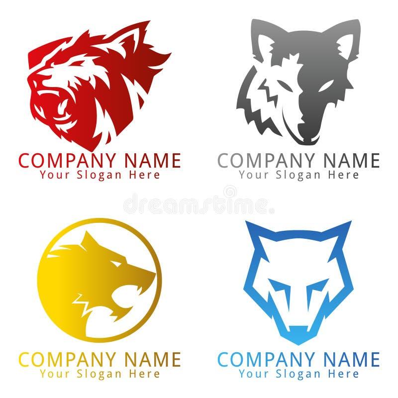 Логотип концепции волка головной иллюстрация вектора
