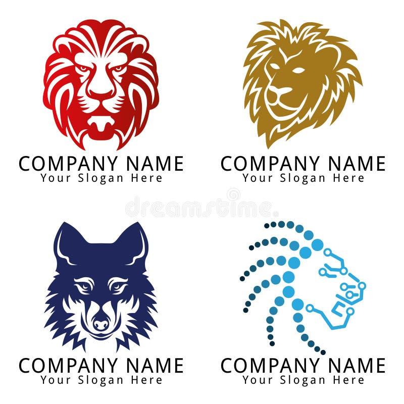 Логотип концепции одичалой жизни животный головной иллюстрация вектора