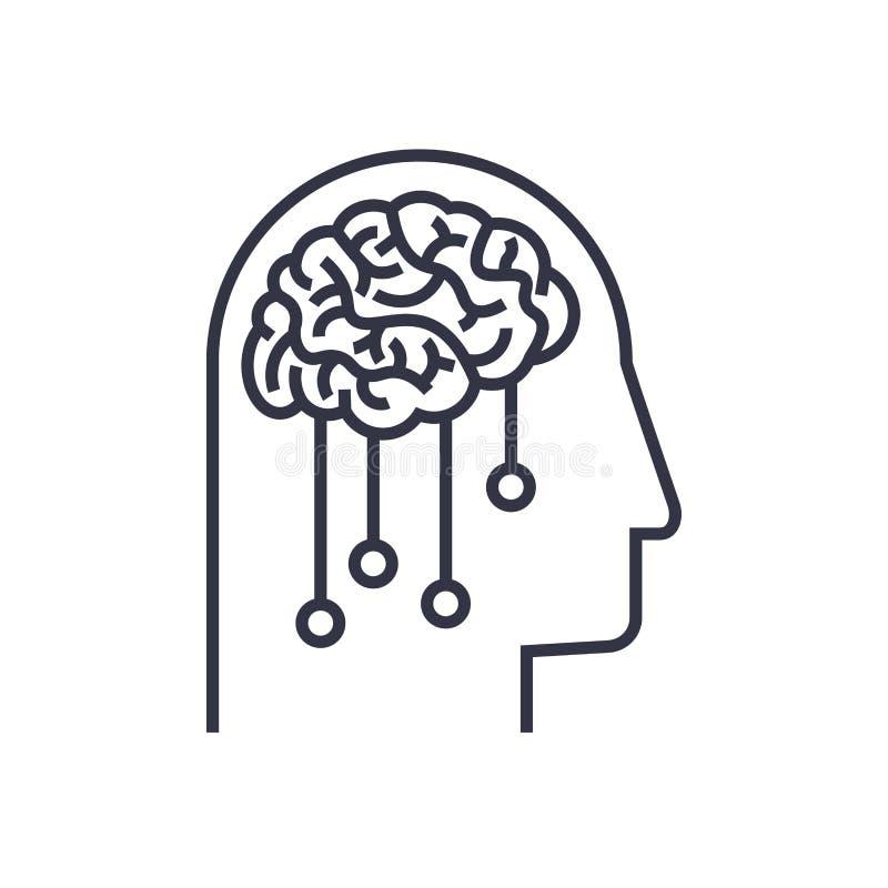 Логотип концепции AI Голова и шестерня Логотип вектора для сети, мест, ui и другого иллюстрация штока