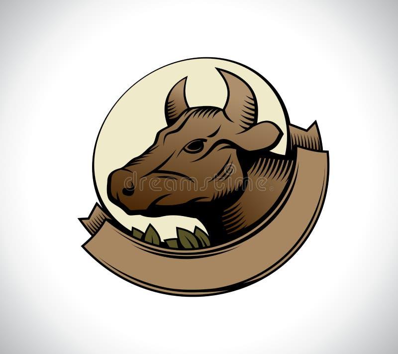 Логотип коровы головной с лентой иллюстрация штока