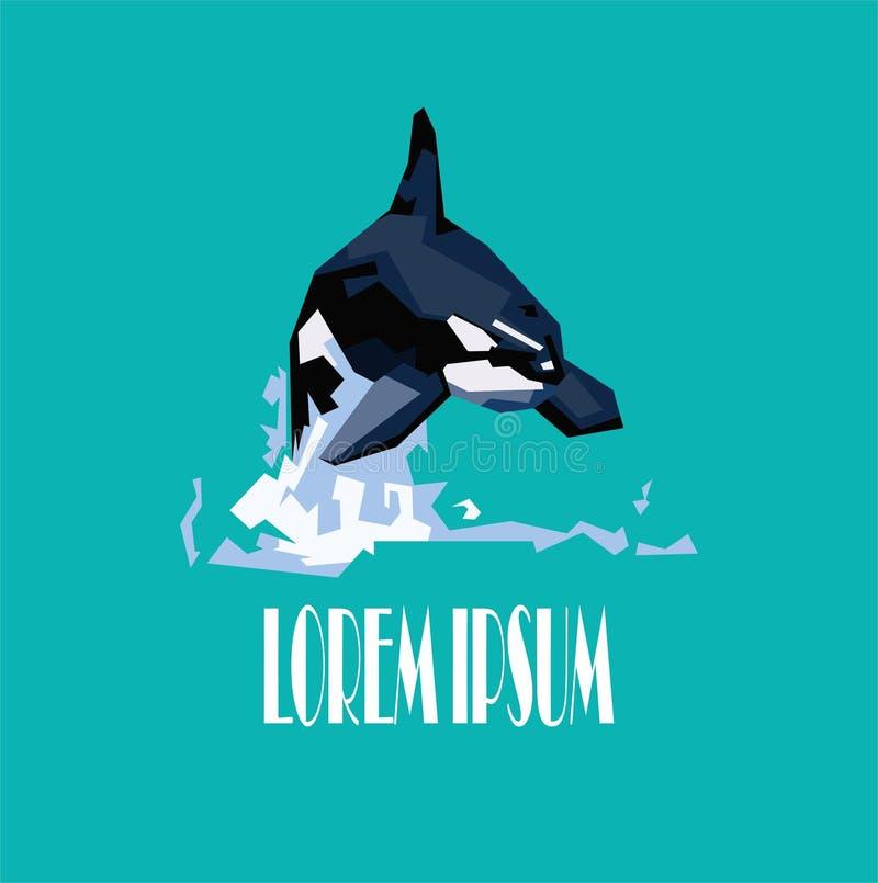 Логотип косатки дельфин-касатки иллюстрация штока