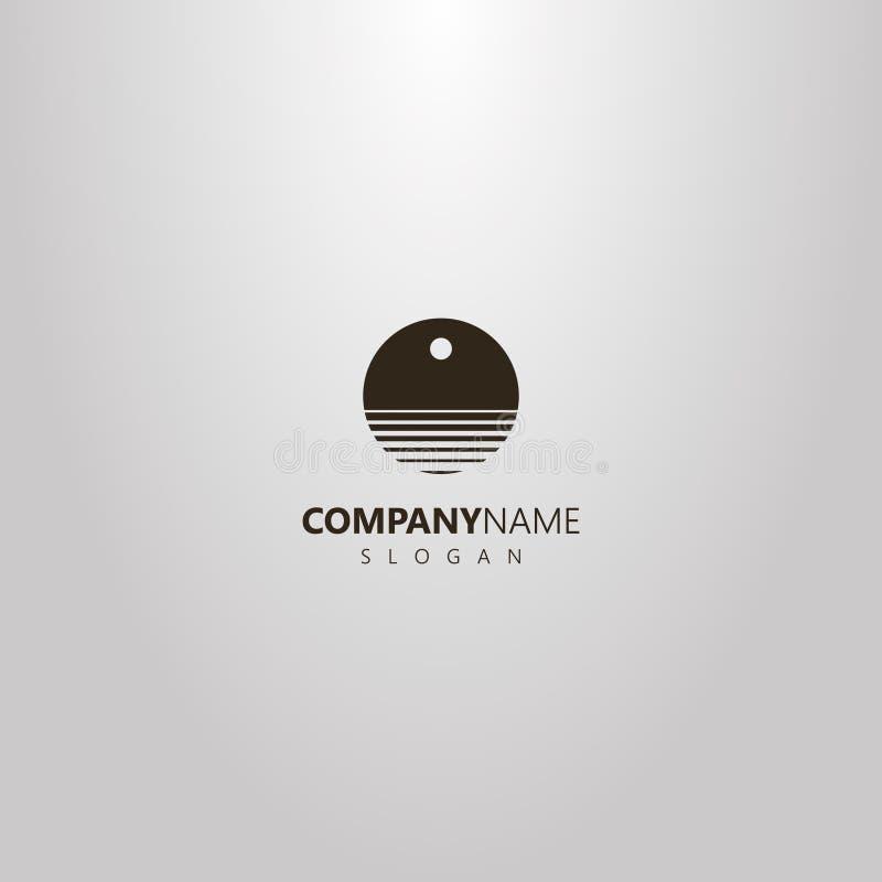 Логотип космоса простого вектора круглый отрицательный абстрактных волн воды под солнцем или луной бесплатная иллюстрация