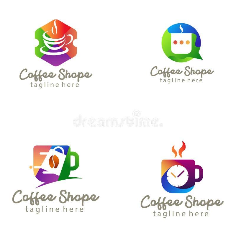 Логотип кофейни и дизайн значка иллюстрация вектора