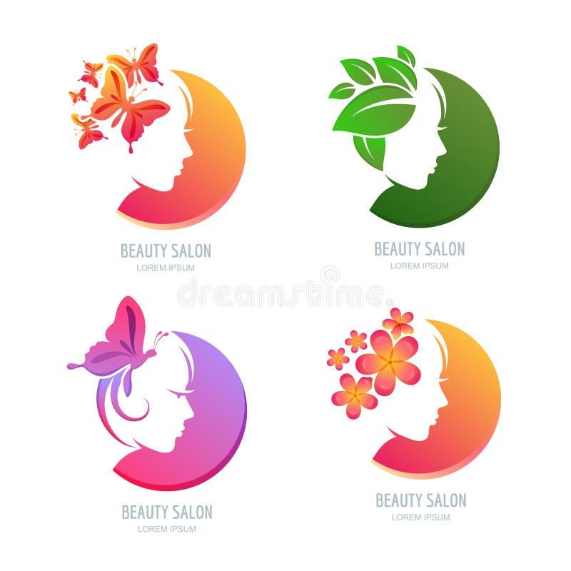 Логотип красоты вектора, комплект ярлыка Женская сторона в форме круга иллюстрация вектора