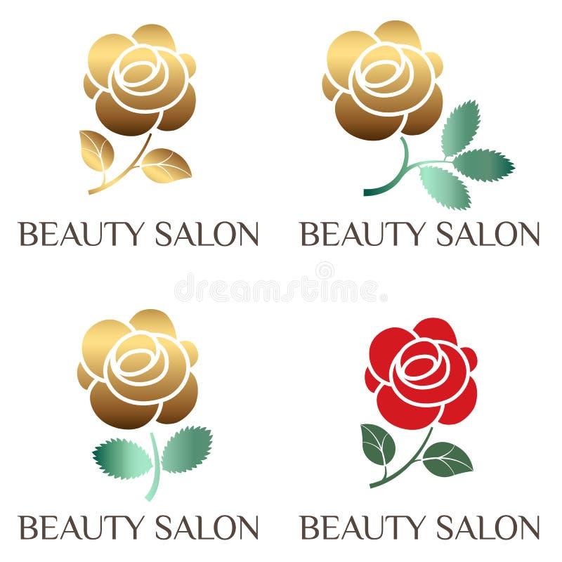 Логотип красоты, роза, мак, символ пиона для салона красоты, салона красоты, составляет художника, цветочного магазина Плоский со иллюстрация вектора