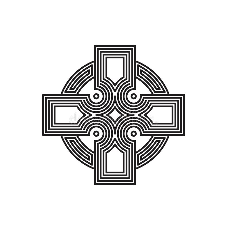 Логотип креста вектора лабиринта линейный стоковая фотография