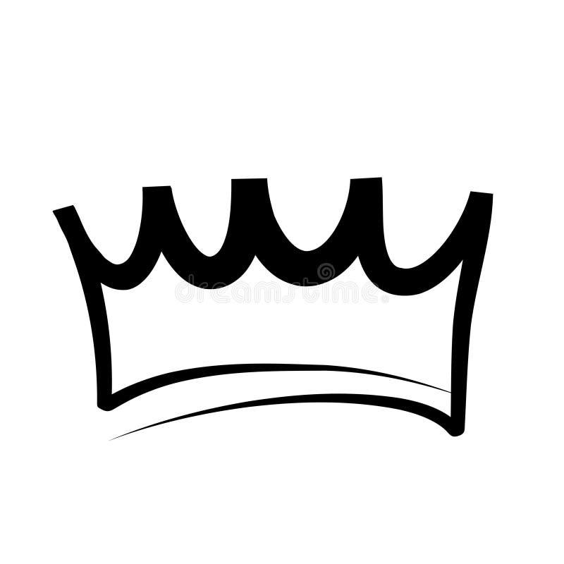 Логотип кроны руки вычерченные и значок на белом, иллюстрация вектора запаса бесплатная иллюстрация