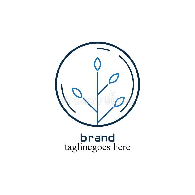Логотип круга с листьями внутрь который прост и привлекателен иллюстрация вектора