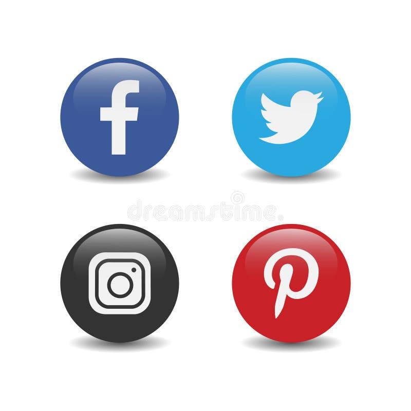 Логотип круглых популярных социальных средств массовой информации сияющий instagram twitter facebook pinterest иллюстрация штока
