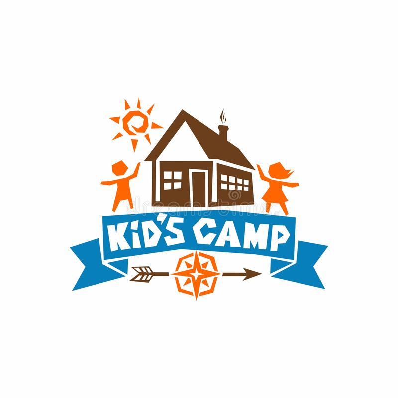 Логотип лагеря ` s ребенк Дом, солнце, дети и компас иллюстрация штока