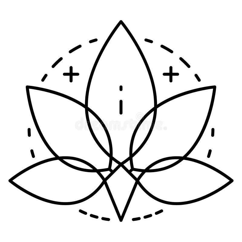 Логотип лист марихуаны, стиль плана иллюстрация вектора