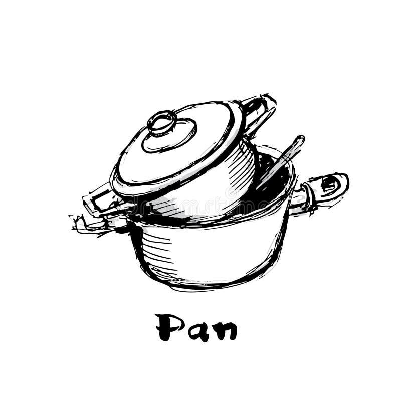 Логотип лотка 2 лотка одного в одном с ложкой внутрь пакостные тарелки иллюстрация вектора
