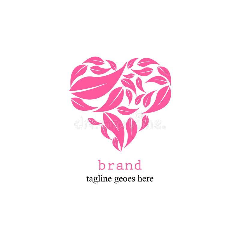 Логотип любов с листьями в простой и привлекательный бесплатная иллюстрация