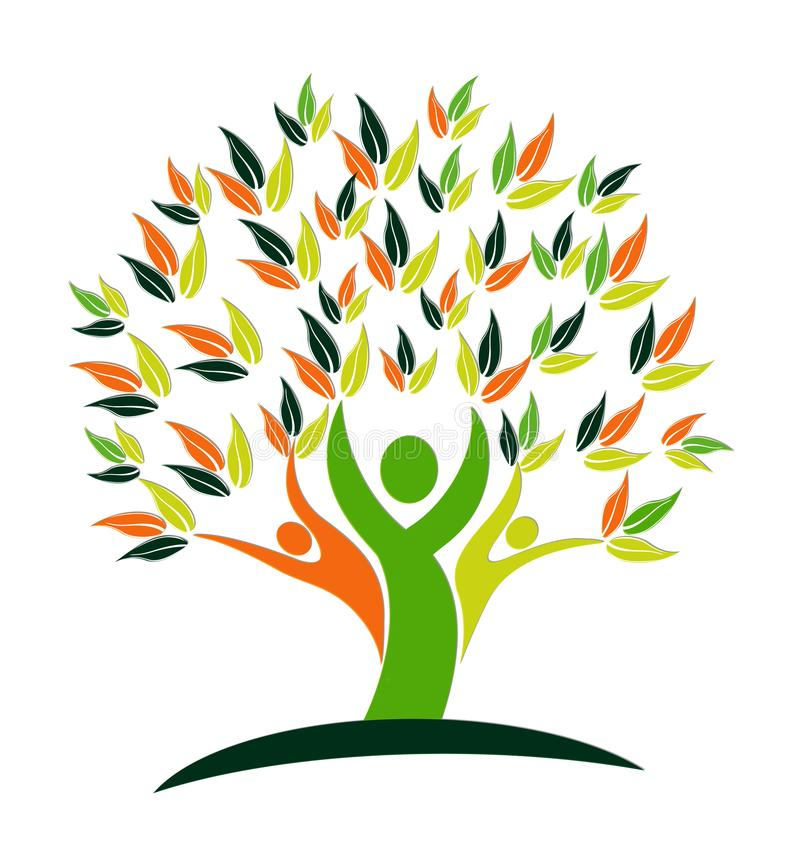 Логотип людей сыгранности дерева вектора стоковые изображения