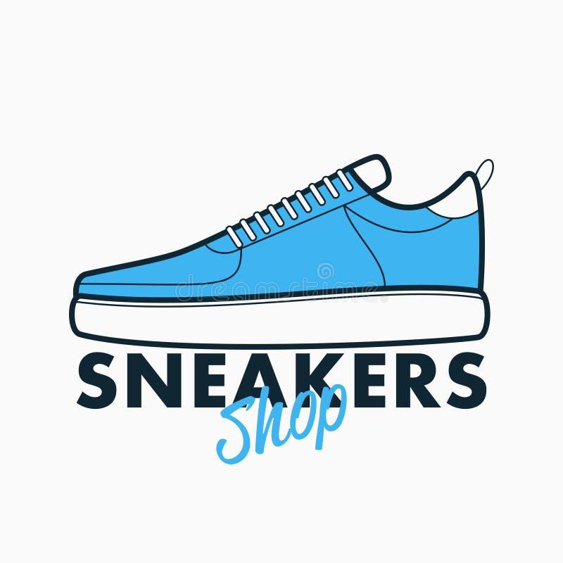 Логотип магазина тапок Знак атлетического спорта - конструируйте эмблему для магазина вектор иллюстрация вектора