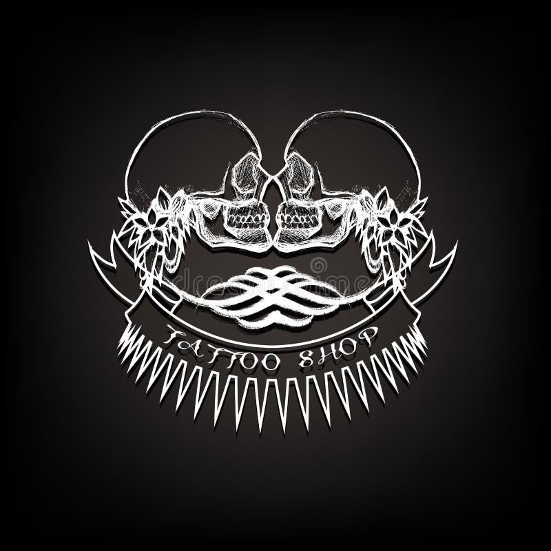 Логотип магазина татуировки, эмблема 2 черепа с лентами иллюстрация вектора