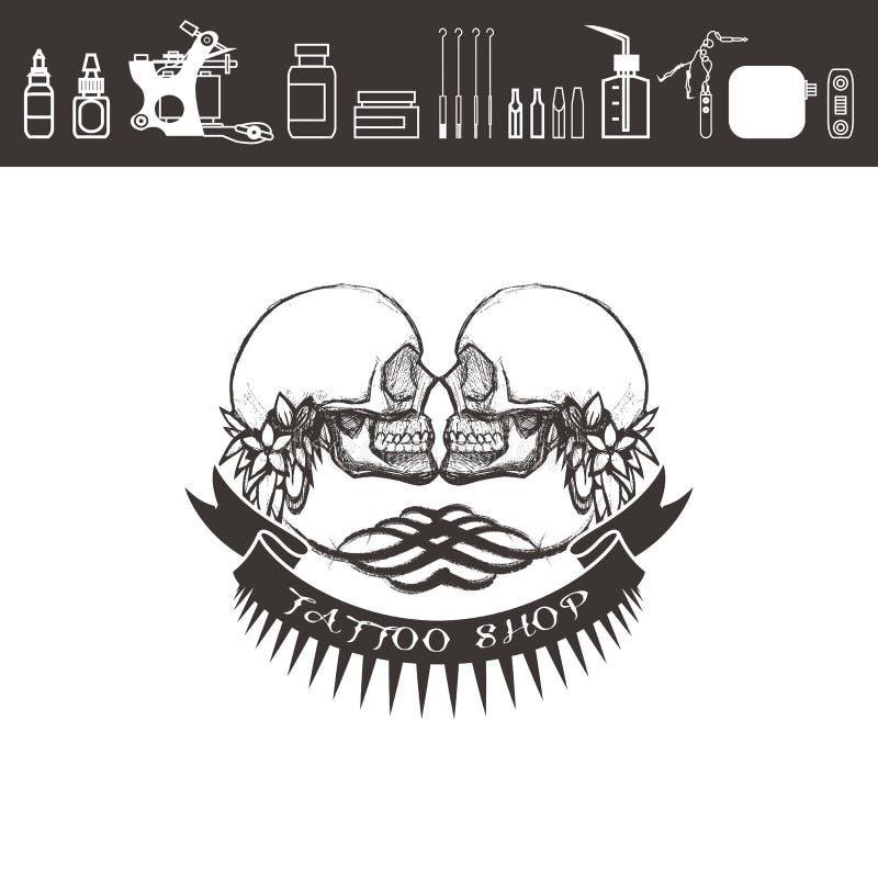 Логотип магазина татуировки, эмблема черная белизна иллюстрация штока