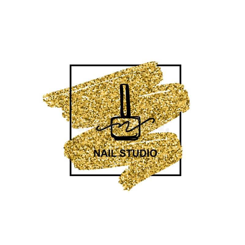 Логотип маникюра с золотой текстурой яркого блеска в ультрамодном минималистском линейном стиле иллюстрация вектора