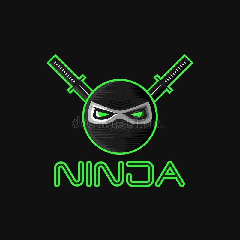 Логотип маски супергероя Ninja для талисмана спортивной команды, японской головы воина характера с большими зелеными дурными глаз иллюстрация вектора