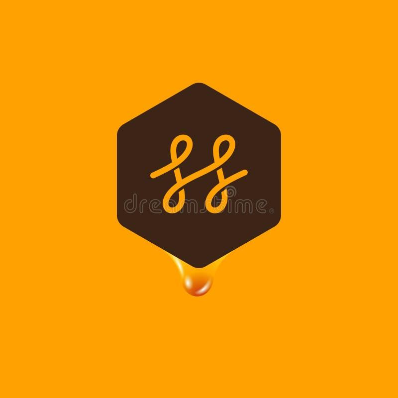 Логотип меда Эмблема меда Пометьте буквами h в шестиугольнике с падением меда на желтой предпосылке иллюстрация вектора